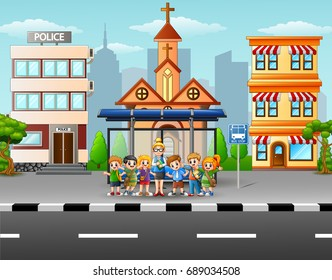 Vector illustration of Teacher and children at the bus stop