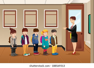A vector illustration of teacher lining up the students in front of the classroom