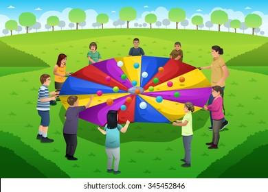 A vector illustration of teacher playing rainbow parachute together with her students
