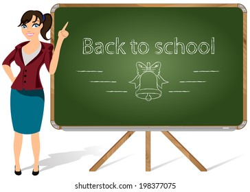 Vector illustration of a teacher pointing to blackboard on a white background