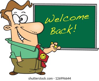 Vector illustration of teacher standing in front of welcome back chalkboard