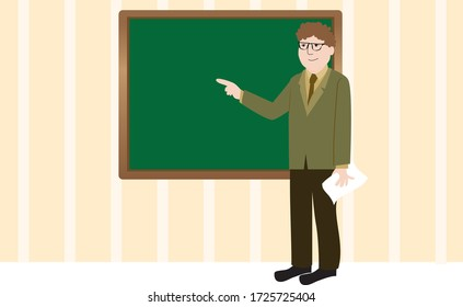Vector Illustration of a Teacher Teaching in The Classroom