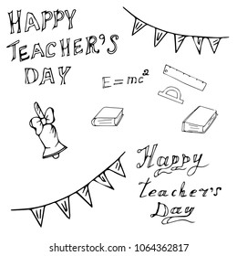 Vector illustration of a teacher's day drawn by hand