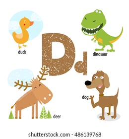 """Vector illustration for teaching children the English alphabet with cartoon animals and objects. """"D"""" letter. dog, duck, deer, dinosaur. Poster School."""