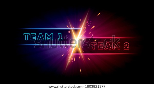 Vector Illustration Team 1 Versus Team 2 Battle Background. VS Match With Two Players