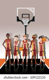 A vector illustration of a team of basketball players
