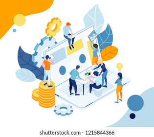 vector illustration. team work on the business. research and application of business ideas. little people on the robot among laptops. teamwork process