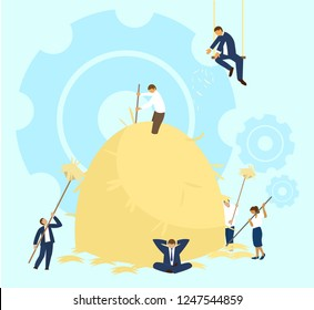 Vector illustration of team work process. People in business suits collecting hay to one big  haystack. Team building activity. Roles and responsibilities  concept.