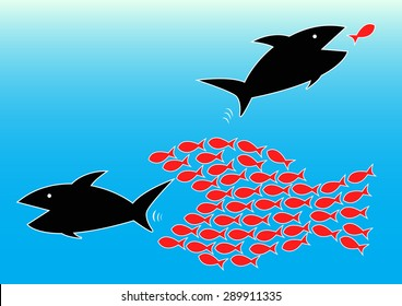 Vector illustration of teamwork concept by harmony of small fishes can eat big fish