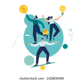 Vector illustration, teamwork and corporate leisure and yoga courses. good balance between idea, time and work. creative metaphor time is money
