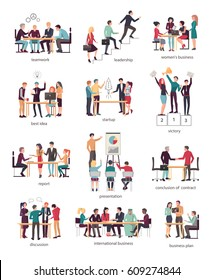 Vector illustration of teamwork leadership, women's business, best idea, startup, victory, report presentation with chart, conclusion of contract, discussion, international business, business plan.
