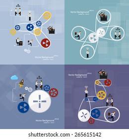 Vector illustration of teamwork, set background