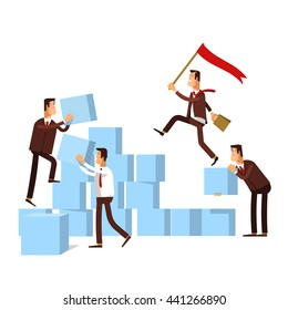 Vector illustration of teamwork workgroup concept. Business team or workgroup builds a stairs ladder  to success. Business strategy, achievement, leadership, ladder  of success.
