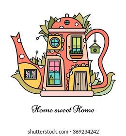 Vector illustration of teapot - house.
