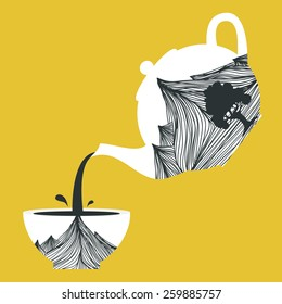 Vector illustration. Teapot with mountains and tree and cup with the same design. Pours tea from a teapot, cup filling symbolic