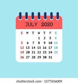 Vector illustration of tear-off calendar for July 2020