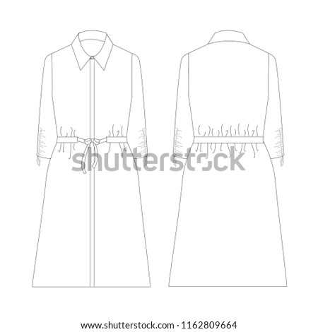 Vector Illustration Technical Sketch Drawing Women Stock Vector