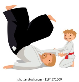 Vector illustration of a technique made in Suvari waza. A man in hakama and a boy in keikogi. Suitable for oriental martial arts such as aikido, judo, karate, jiu-jitsu, budo
