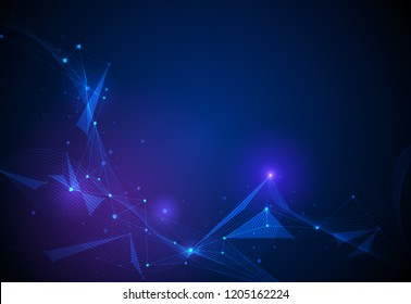 Vector illustration technology on blue background. Abstract internet network connection design for web site. Digital data, global communication, science and futuristic concept
