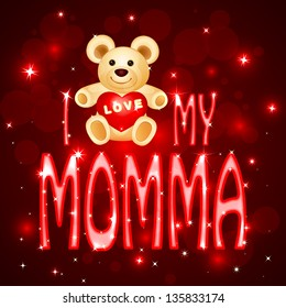vector illustration of teddy bear in Love you Momma card for Mother's Day