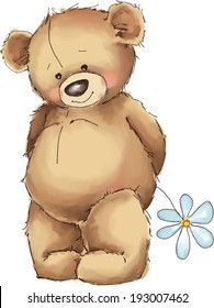 Vector illustration. Teddy bear with white flower.