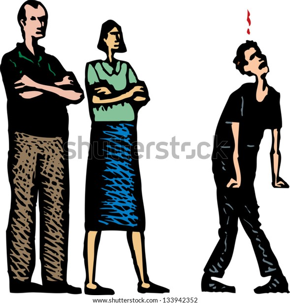 Vector illustration of teen arguing with parents