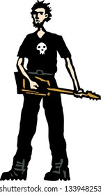 Vector illustration of teen boy playing heavy metal electric guitar