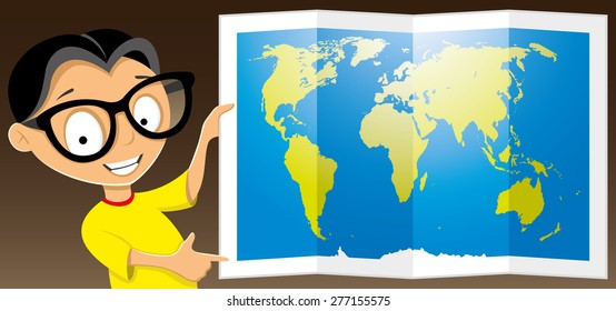 Vector illustration. Teen shows a map of the world