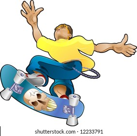 Vector illustration of a teenager, part of the skater clique or tribe