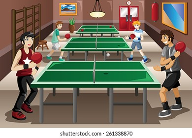 A vector illustration of teenagers playing ping pong