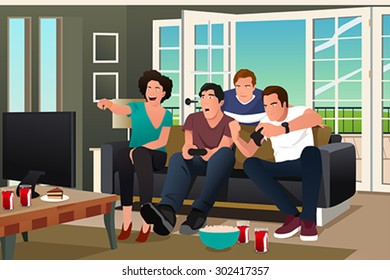 A vector illustration of teenagers playing video game with friends watching