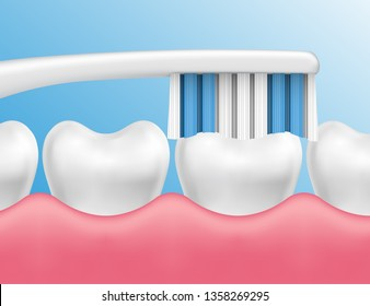 Vector illustration of teeth cleaning with a brush - dental hygiene concept