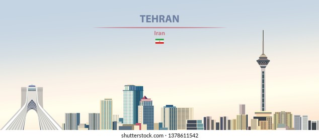 Vector illustration of Tehran city skyline on colorful gradient beautiful daytime background
