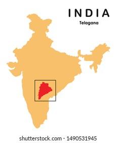 vector illustration of Telangana in India map