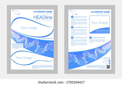 Vector illustration template, in A4 size, for poster flyer pamphlet brochure cover design layout, with space for logo, photos and slogan.
