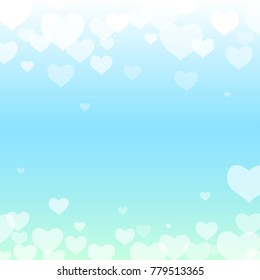 Vector illustration template background little heard for valentine day.Blue pastel color.