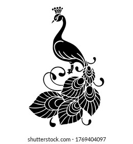 vector illustration, template in black, tattoo, peacock pattern, tropical bird, isolate on a white background