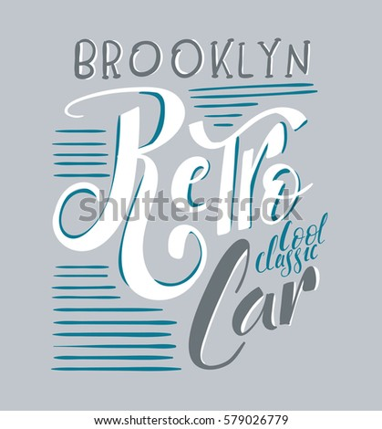 Vector Illustration Template Brooklyn Garage Retro Stock Vector - Car show t shirt design template