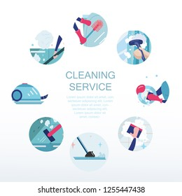 Vector illustration template for cleaning services. Poster with composition of different icons for cleaning service. Design concept in a trandy flat style.