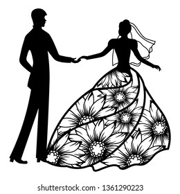 Vector illustration. Template with With the groom and the bride. Pattern for the laser cut, boy and girl. The dancing couples. Dress with flowers