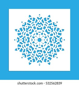 Vector illustration. Template for lazornoy cutting. Christmas snowflake. Template for design, postcards jewelery boxes, interior decoration.