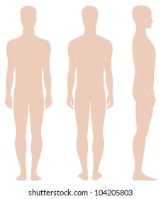 Vector illustration. Template of man's figure. Silhouettes. Front, back, side views