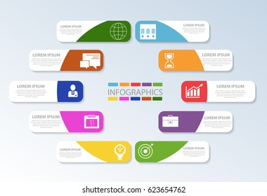 Vector illustration. Template with ten colored geometric figures of rectangles for infographics, business, presentations, web design, the concept of launching with 10 options, steps. Text and icons.