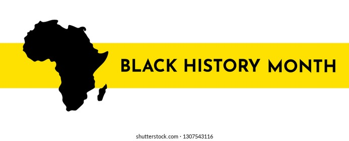 Vector illustration template for title with yellow stripe. Black history month. African continent silhouette
