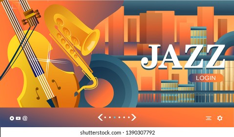 Vector illustration, template for web banner, landing page with live music, radio, for internet users