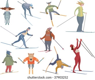 Vector illustration of ten various figures of people, sportsmen, comic characters and dog who go to ski