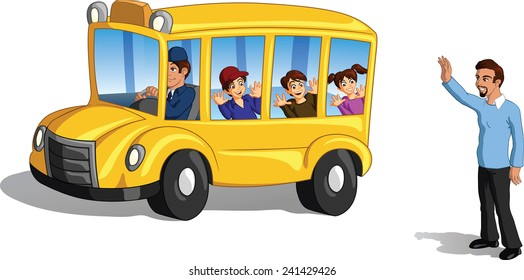 Vector illustration of a tender father waving goodbye to his kids on a school bus.