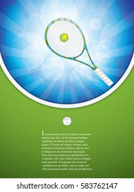 Vector illustration of tennis brochure with racket and ball