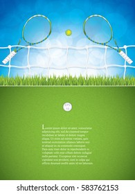 Vector illustration of tennis brochure with racket and ball.