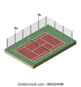 Vector illustration. Tennis court isometric.